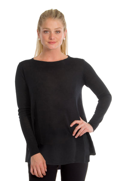 Gretchen Scott Cashmere-Like Swing Sweater Black
