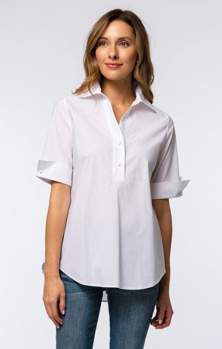 Tyler Boe Tracey Cotton Elbow Sleeve Blouse White