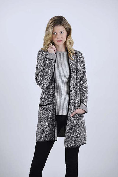 OST TESSY PATTERN SHAWL COLLAR COAT – DOUBLE SIDED