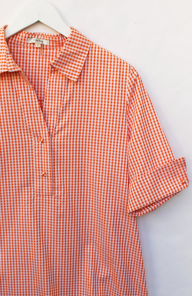 Tyler Boe Tracey Cotton Check Blouse Bitter Orange