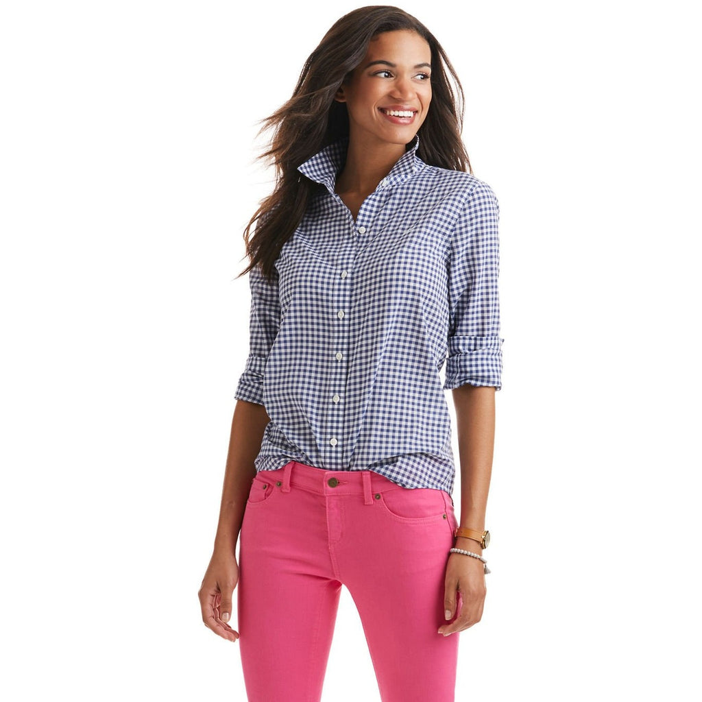 Vineyard Vines Little Gingham Relaxed Button Down Baltic Blue