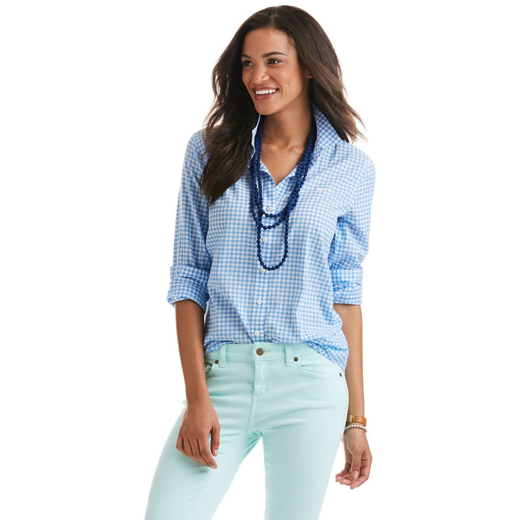Vineyard Vines Little Gingham Relaxed Button Down Cornflower