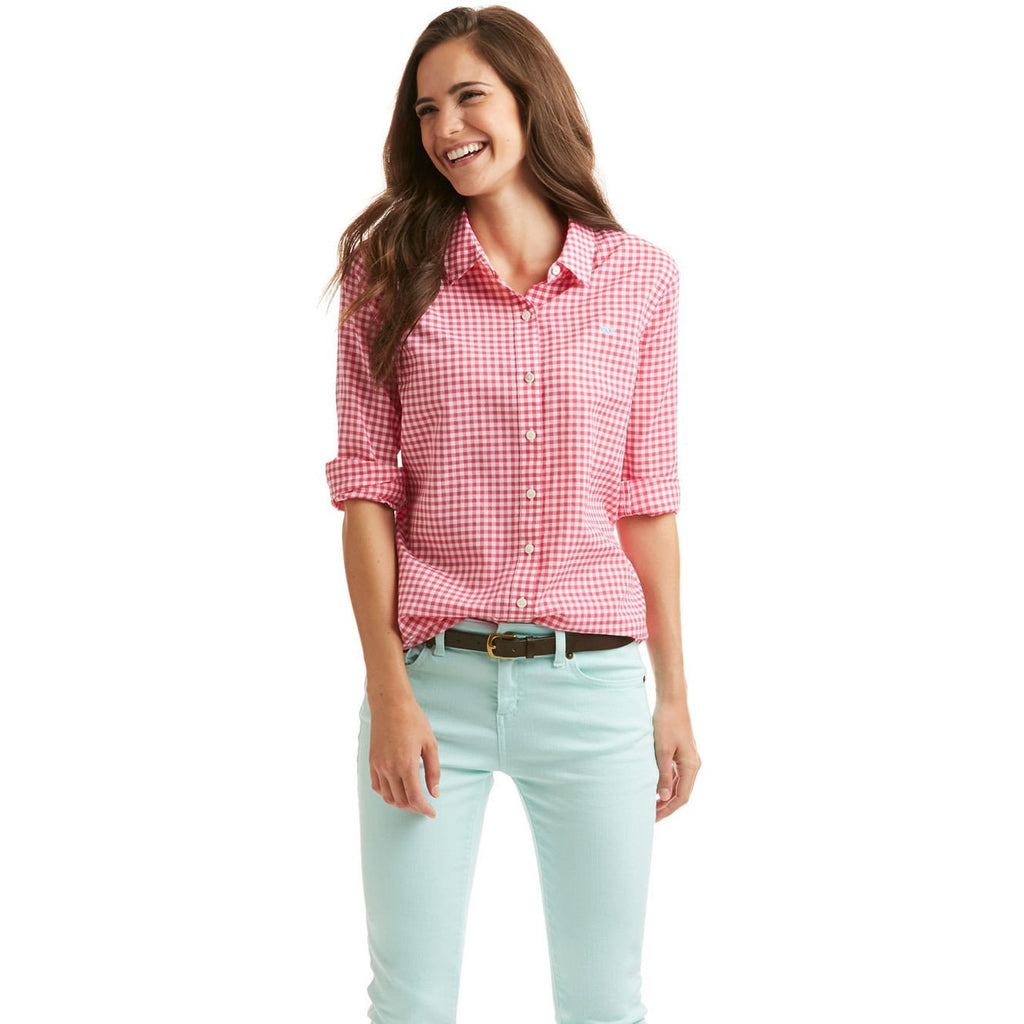 Vineyard Vines Little Gingham Relaxed Button Down Rhododendron