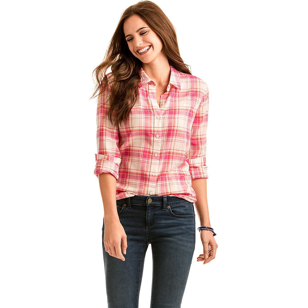 Vineyard Vines Resort Plaid Relaxed Button Down Bright Pink