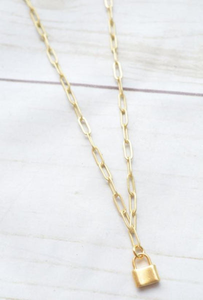 "Virtue 16"" Paperclip Necklace with Lock"