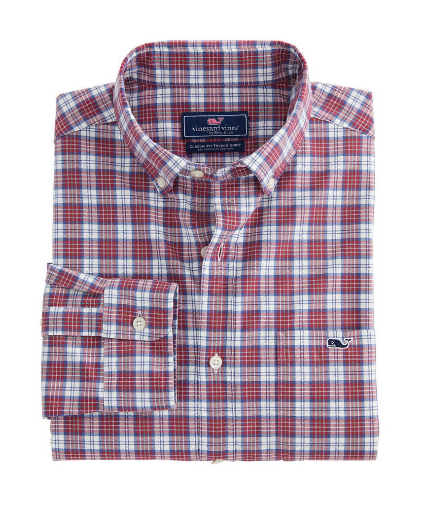Vineyard Vines Classic Fit Cades Tucker Shirt Red Earth