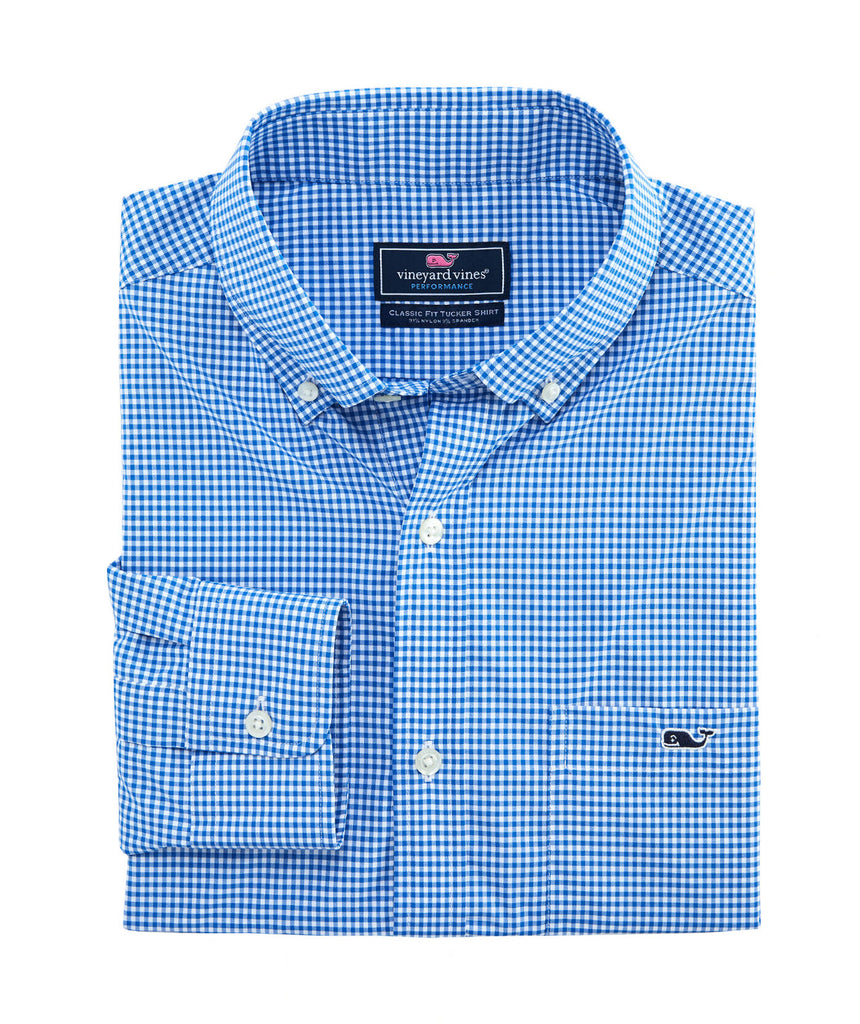 Vineyard Vines Classic Fit Lisbon On-The-Go Performance Tucker Shirt Spinnaker