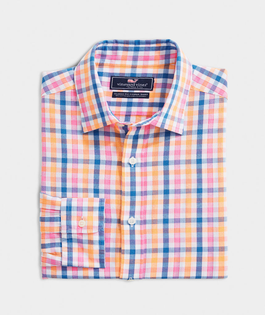 Vineyard Vines Classic Fit Orange Grove Cooper Button-Down Shirt Sunrise