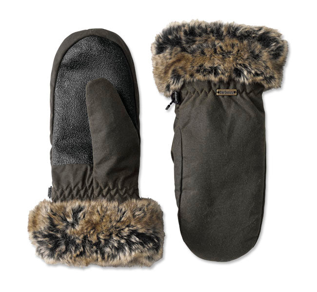 Barbour Wax Mittens with Fur Trim Olive