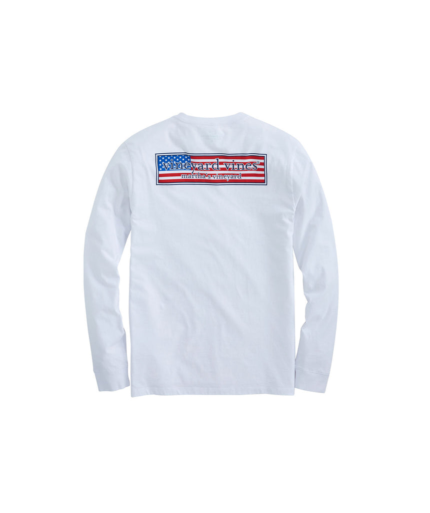 Vineyard Vines Long-Sleeve Patriot Box Pocket T-Shirt White Cap