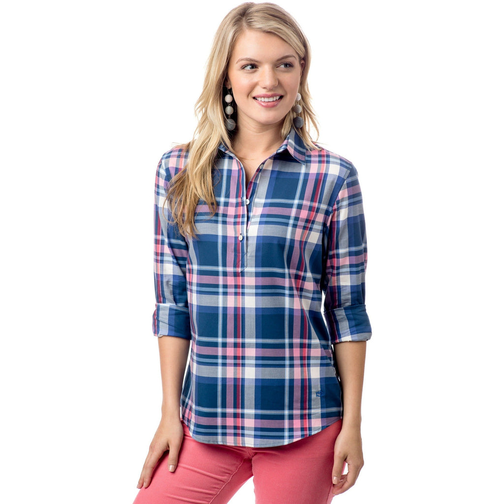 Southern Tide Plaid Popover Yacht Blue