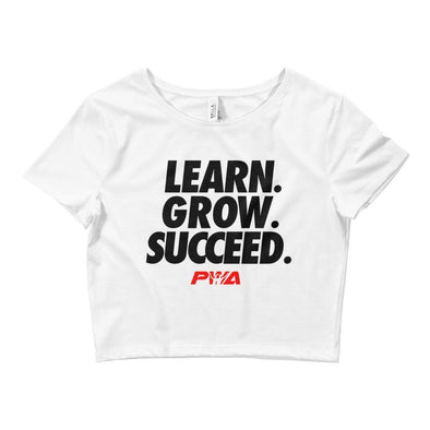 Learn Grow Succeed Crop Tee - Power Words Apparel