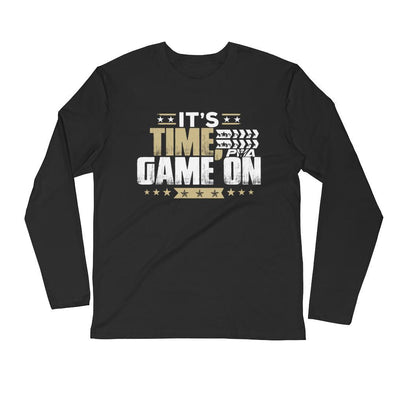 It's Time, Game On Men's Long Sleeve Fitted Crew - Power Words Apparel