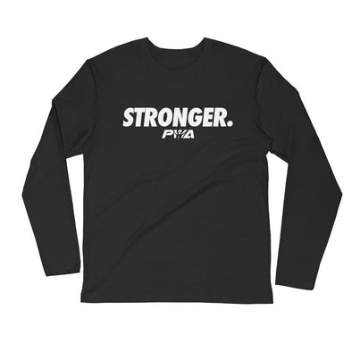 Stronger Men's Long Sleeve Fitted Crew - Power Words Apparel