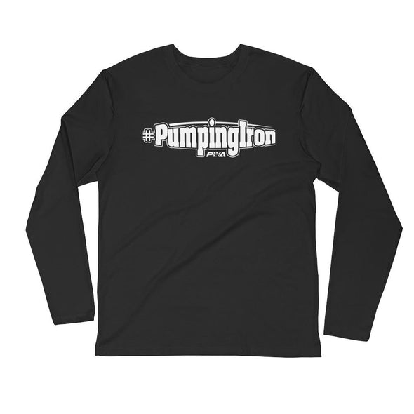 #Pumping Iron Men's Long Sleeve Fitted Crew - Power Words Apparel