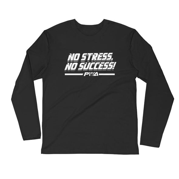 No Stress, No Success Men's Long Sleeve Fitted Crew - Power Words Apparel