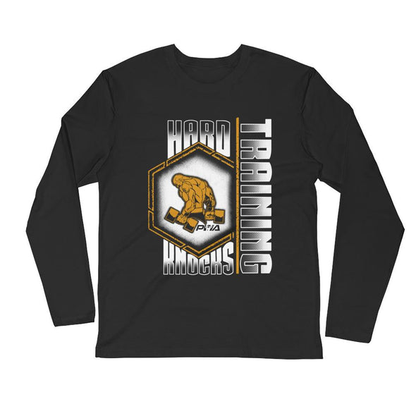 Hard Knocks Training Men's Long Sleeve Fitted Crew - Power Words Apparel