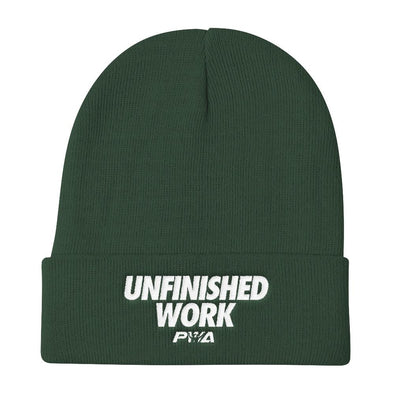 Unfinished Work Knit Beanie - Power Words Apparel