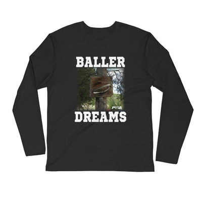 Baller Dreams Men's Long Sleeve Fitted Crew - Power Words Apparel