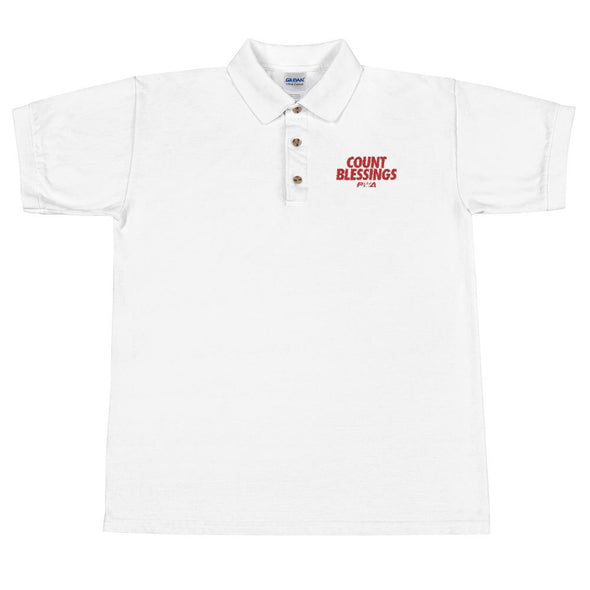 Count Blessings Men's Embroidered Polo Shirt - Power Words Apparel