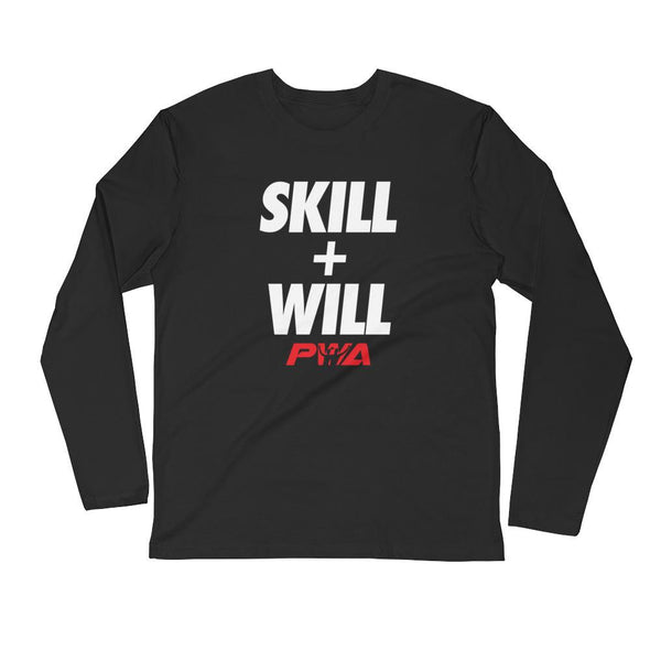 Skill + Will Men's Long Sleeve Fitted Crew - Power Words Apparel