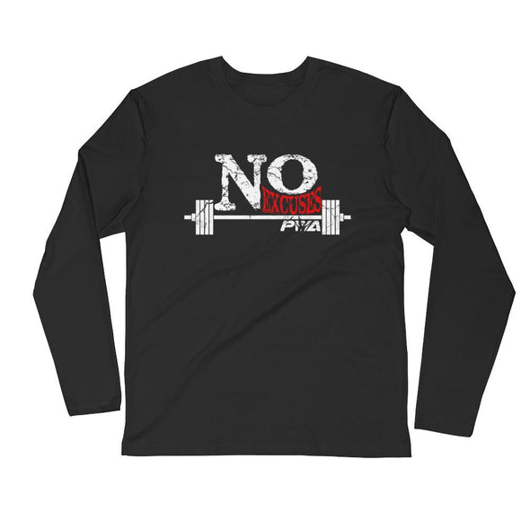 No Excuses Men's Long Sleeve Fitted Crew - Power Words Apparel