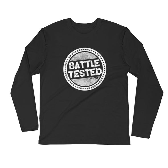 Battle Tested Men's Long Sleeve Fitted Crew - Power Words Apparel