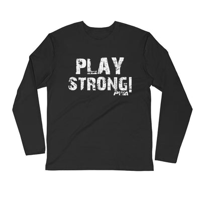 Play Strong Men's Long Sleeve Fitted Crew - Power Words Apparel