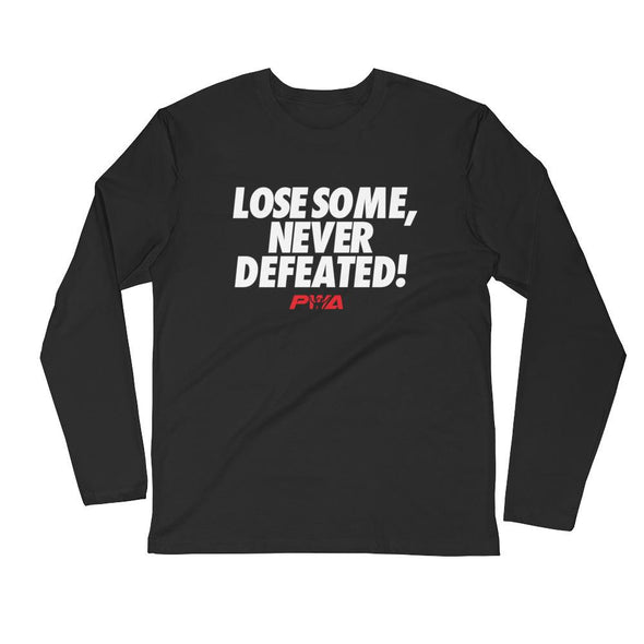 Lose Some, Never Defeated Men's Long Sleeve Fitted Crew - Power Words Apparel