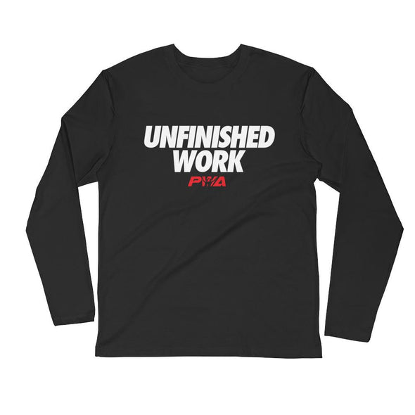 Unfinished Work Men's Long Sleeve Fitted Crew - Power Words Apparel