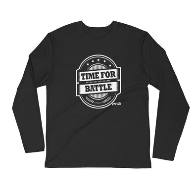 Time for Battle Men's Long Sleeve Fitted Crew - Power Words Apparel
