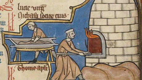 Baking Bread (detail) in a psalter by an unknown illuminator, Belgium, mid-1200s. J. Paul Getty Museum