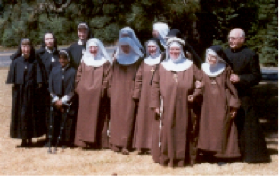 The Franciscan Sisters of Christ the King. The congregation's founders, Fr. Eugene Heidt and Mother Mary Herlinda, are on the right.