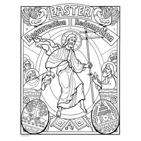 Catholic Family Easter Coloring Poster