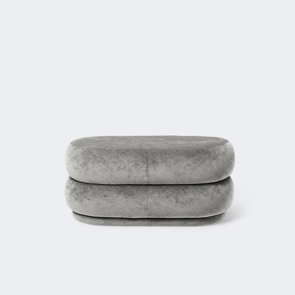 Ferm Living Pouf Oval Faded Velvet Concrete