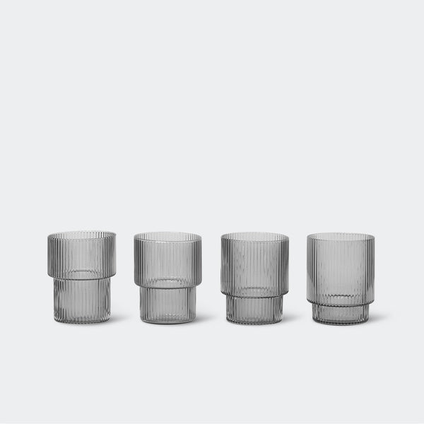 Ferm Living Ripple Glasses in Smoked Grey (Set of 4)