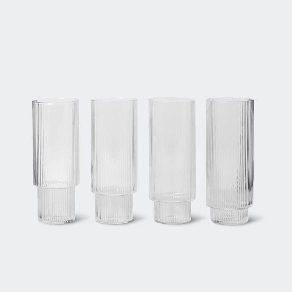 Ferm Living Ripple Long Glasses (Set of 4)