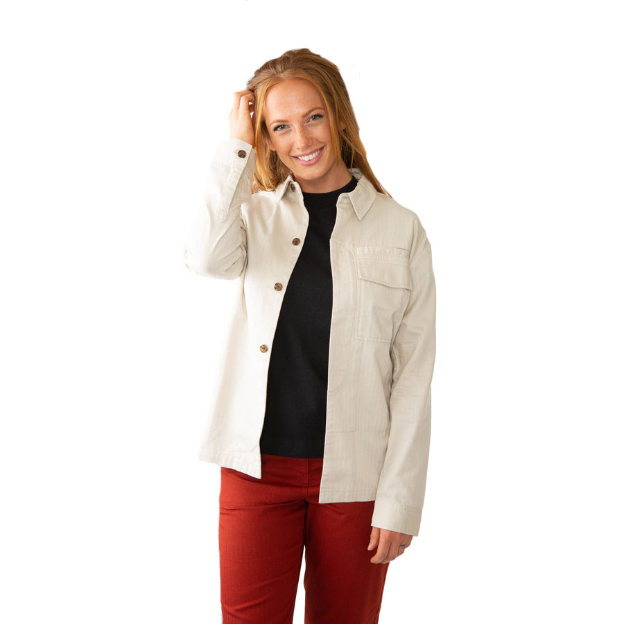 Womens Shiomi Shirt Jacket Made With Our Sustainable 100% Organic Cotton Herringbone-Roamers Brand
