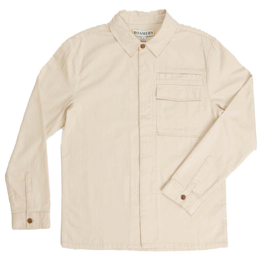 Men's Shiomi Shirt Jacket Made With our Sustainable 100% Cotton Herringbone-Roamers Brand