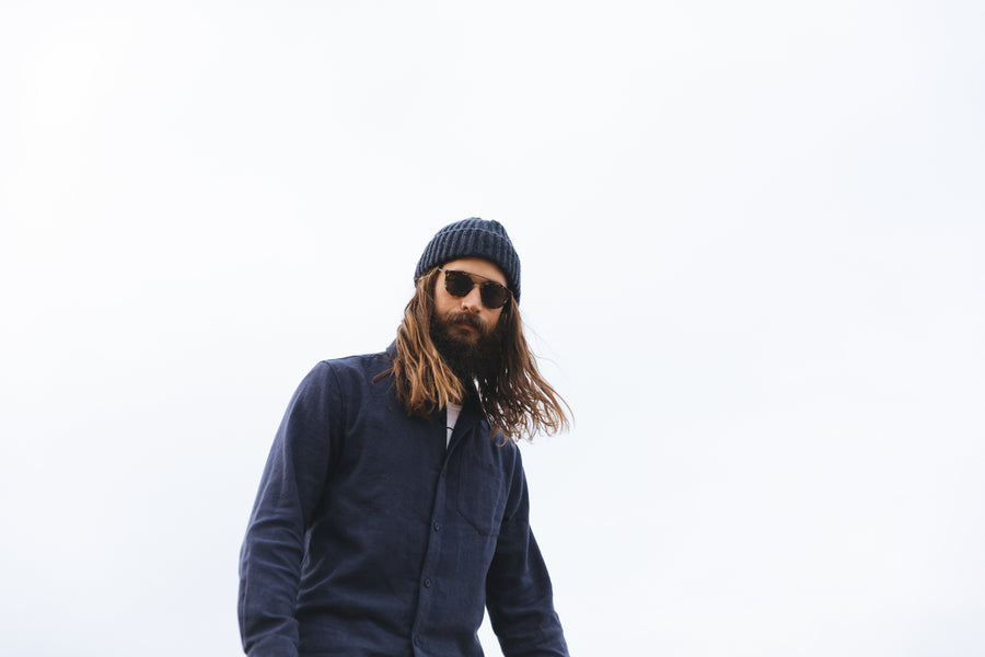 Fisherman's Merino Wool Beanie in Rich Navy MADE IN USA-Roamers Brand