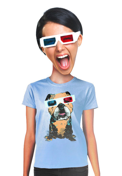 3d bulldog womens t-shirt