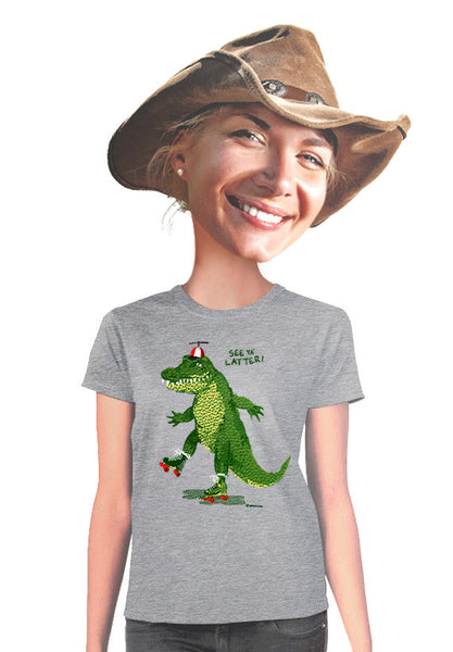 roller skating alligator womens t-shirt