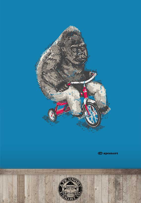 gorilla riding a trike unisex t-shirt
