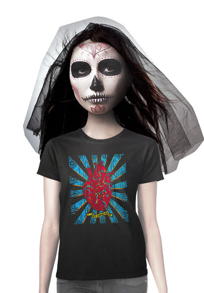 day of the dead heart el corazon womens t-shirt