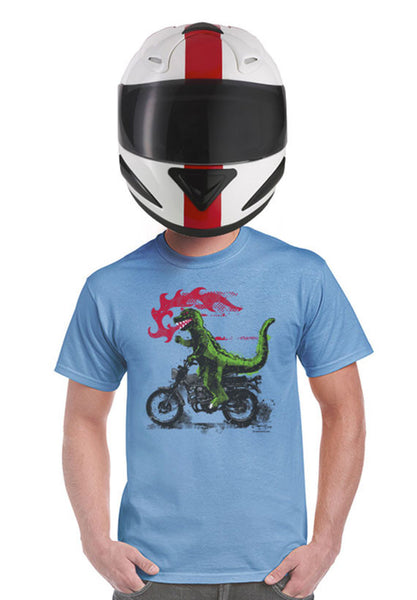 fire breathing motorcycle riding godzilla t-shirt