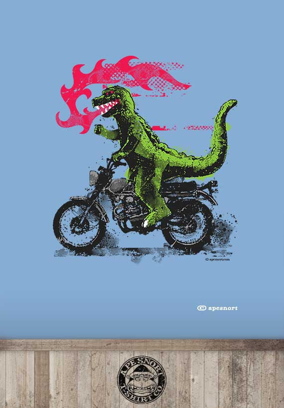 fire breathing motorcycle riding godzilla unisex t-shirt
