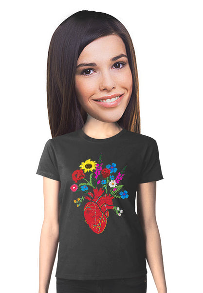 flowering heart t-shirt