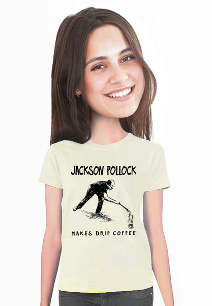 jackson pollock makes drip coffee t-shirt