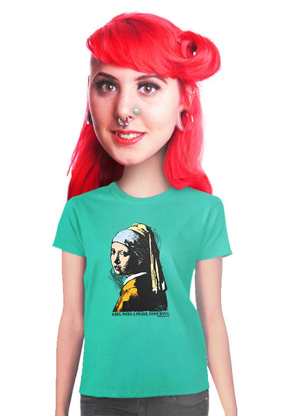 girl with a pearl nose ring womens t-shirt