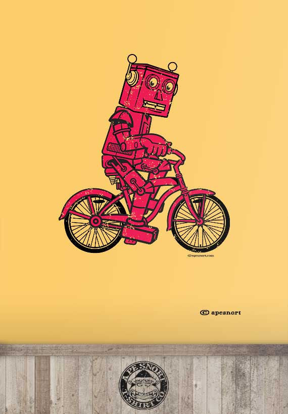red robot bicycle unisex t-shirt